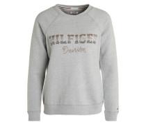 Sweatshirt mit Zierperlenbesatz grau