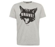 T-Shirt 't-Joe-Qc Hemd' mit Print hellgrau / schwarz