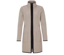 Paspelierter Mantel dunkelbeige / schwarz
