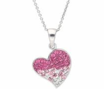 Kette mit Anhänger 'Herz' rosa / silber