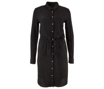 Kleid 'Heep' mit Knopfleiste und Kordelzug schwarz