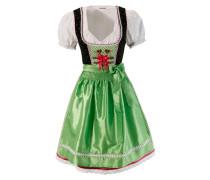 Dirndl mit Bänderschnürung (3tlg.) grün / rot / schwarz / weiß