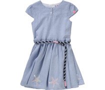 Kinder Kleid mit Pailletten-Applikation rauchblau / schwarz / silber