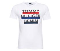 T-Shirt 'ame' mit gummiertem Marken-Print blau / rot / schwarz / weiß