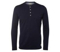 T-Shirt mit langen Ärmeln Split-Neck- blau