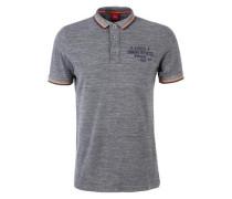 Meliertes Poloshirt navy / grau / orange