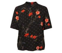 Bluse mit 2/4 Ärmeln Blumen schwarz