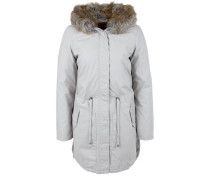 Warmer Mantel mit Fake Fur-Kapuze braun / grau