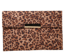 Clutch 'leopard Callalily' braun