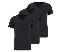T-Shirt mit V-Ausschnitt 3er Pack schwarz