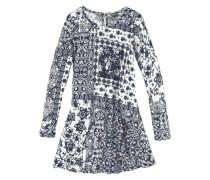 Kleid im Patchworkstil für Mädchen blau / weiß