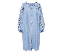 Blusenkleid mit Stickerei blau / weiß