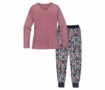 Mädchen Pyjama im Ethnomuster altrosa / schwarz / weiß