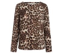 Rückenfreie Langarmbluse 'Leopard' braun