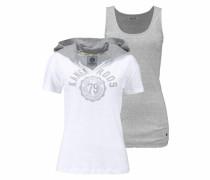 Print-Shirt (Set 2 tlg. mit Top) grau / weiß
