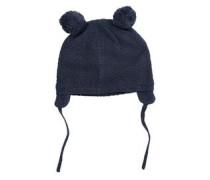 Mütze mit Bommeln blau