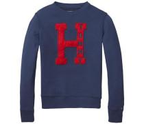 Sweatshirt 'D CN HWK L/s' indigo / rot