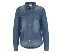 Bluse in Denim-Look blau