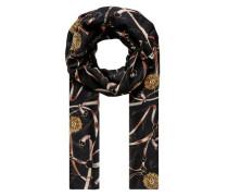 Schal mit Kettendruck schwarz