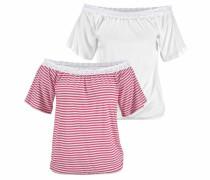 Carmenshirts pink / weiß