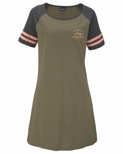Nachthemd anthrazit / oliv / apricot
