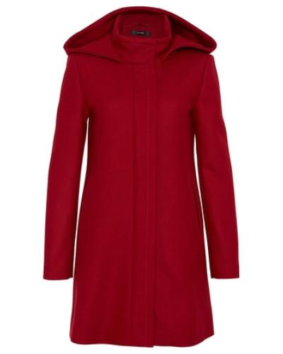 hallhuber damen wollmantel mit kapuze und r ckenfalte rot. Black Bedroom Furniture Sets. Home Design Ideas