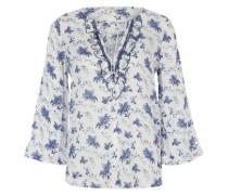 Print-Tunika mit Rüschen blau