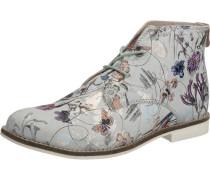 Schnürboots mit stylischem Blumenprint silber