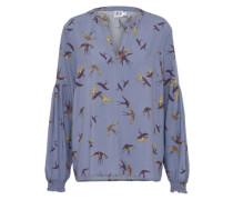 Bluse 'bird Print' rauchblau