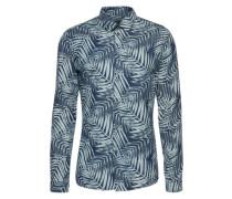 Slim Fit Hemd mit Palmen-Print 'Ruben' dunkelblau