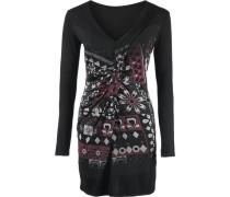 Jerseykleid weinrot / schwarz / weiß