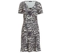 Jerseykleid braunmeliert / weiß