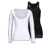 Langarmshirt schwarz / weißmeliert