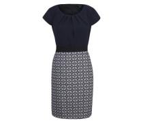 Kleid mit gemustertem Rockteil blau / weiß