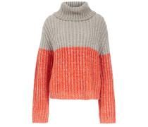 Pullover Turtle Neck Oversize grau / orange