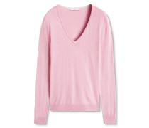 Pullover 'E basic V-neck' pink