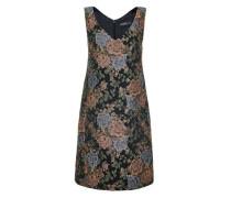 A-Linien-Kleid aus Rosen-Jacquard mischfarben / schwarz
