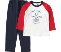 Schlafanzug für Jungen marine / hellrot / naturweiß