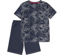 Schlafanzug für Jungen dunkelblau / naturweiß