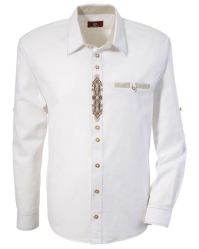 Trachtenhemd mit Stickerei weiß