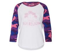 Shirt mit Camouflage-Details lila / pink / weiß