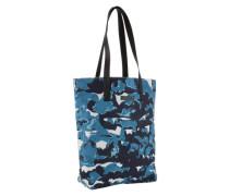 Baumwoll-Shopper mit Lederhenkeln 'Q-Conway' blau / mischfarben