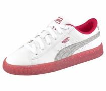 Sneaker 'Basket Iced Glitter 2 junior' dunkelpink / silber / weiß