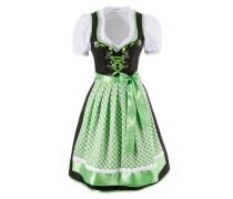 Dirndl mit Rüschen und Stickereien (3tlg.) grün / schwarz / weiß
