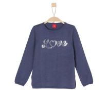 Pullover mit Pailletten-Schriftzug blau / silber