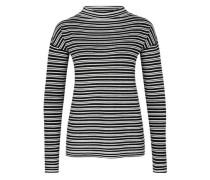 Gestreifter Pullover mit Zipp-Detail schwarz / weiß