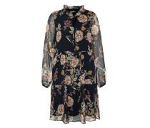 Stufiges Georgette-Kleid in A-Linie mischfarben / schwarz