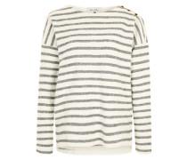 Pullover mit Streifen weiß / grau