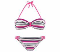 Bandeau-Bikini grau / pink / schwarz / weiß