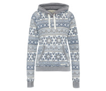 Sweatshirt 'double Hood' rauchblau / grau / offwhite